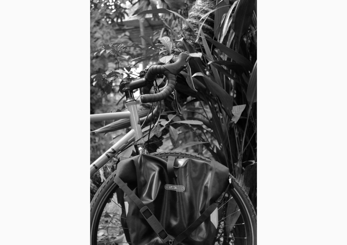 Empty Ortlieb BackRoller Classics on my Marin Four Corners (2017)